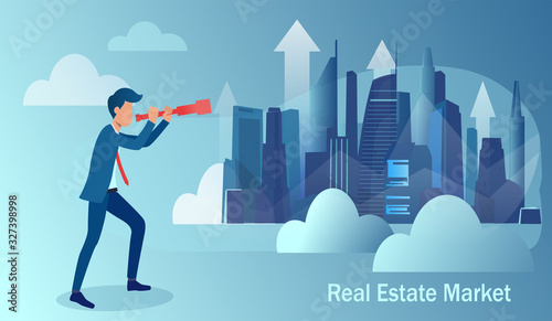 Vector of a business man looking at cityscape trying to predict real estate market