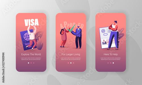 Fényképezés Travelers Approve Visa Mobile App Page Onboard Screen Set