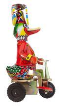 Silly Metal Wind-up Duck With Propeller Party Hat Riding A Bicycle. Isolated.