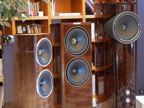 Photo Audiophile HiFi speakers in the listening room.