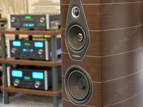 Photo Audiophile speakers and Hi-Fi sound system. Close-up view.