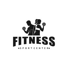 Fitness Logo, Gym Logo Design Template, With Silhouettes Of Bodybuilders,  Vector Illustration