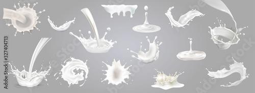 3d vector milk splash and pouring set, big collection Fototapete