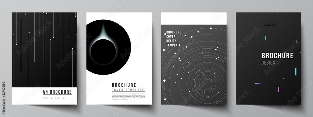 Fototapeta Vector layout of A4 format cover mockups design templates for brochure, flyer layout, booklet, cover design, book design, brochure cover. Tech science future background, space astronomy concept.