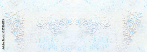background of white wooden vintage wall with floral emboss details Slika na platnu