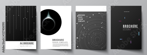 Vector layout of A4 format cover mockups design templates for brochure, flyer layout, booklet, cover design, book design, brochure cover. Tech science future background, space astronomy concept.