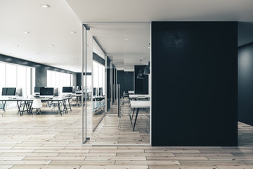 Modern coworking office interior with copy space on wal