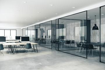 Concrete coworking glass office interior