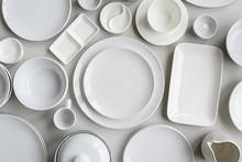 Piles Of White Ceramic Dishes ...