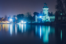 Retiro Park At Night. Madrid, Spain