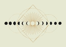 Moon Phases Geometry Vintage O...