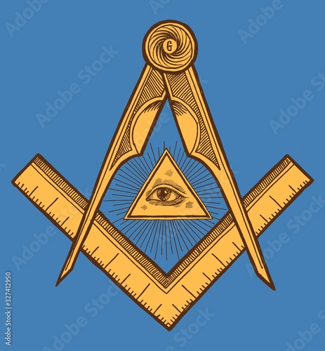 Freemason symbol - The Square and Compasses Slika na platnu