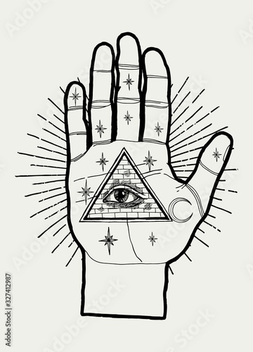 Chiromancy palm with eye of providence in the triangle and stars and moon in the vintage rays. Occult illustration. Wall mural