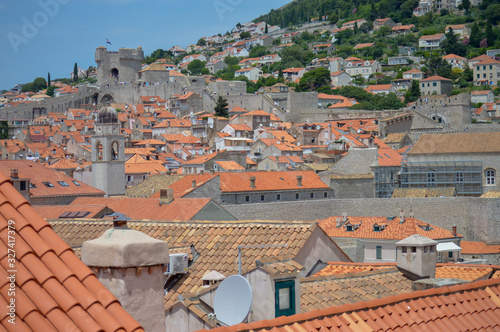 Red rooftops of town Dubrovnik on June 18, 2019 Tablou Canvas