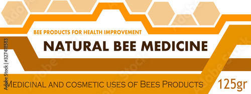 Label design concept for packaging medicines from beekeeping products Wallpaper Mural