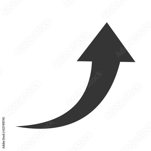 Fototapeta Vector up arrow. Black rising arrow isolated obraz