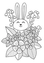 Cute Easter Bunny In Flowers Doodle Coloring Book Page. Hand Drawn Black And White Sketch. Antistress Coloring Book Page For Adults.