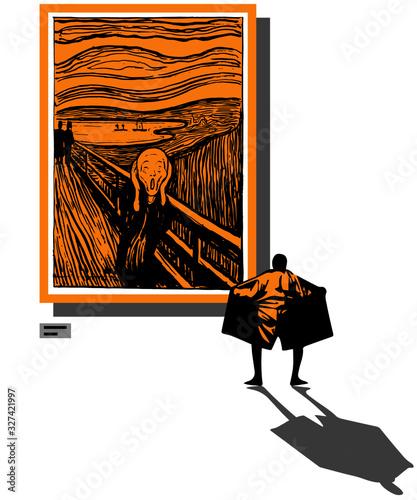 Valokuvatapetti Art exhibition parody poster
