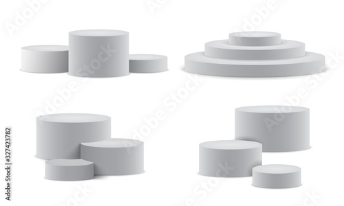 Obraz Set realistic podium. Pedestal and platform, stand stage, cylinder. Round empty stages and podium stairs 3d template - stock vector - fototapety do salonu