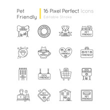 Dog Friendly And No Pet Signs Pixel Perfect Linear Icons Set. Cats And Dogs Allowed And Banned Areas. Customizable Thin Line Contour Symbols. Isolated Vector Outline Illustrations. Editable Stroke