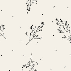 Panel Szklany Minimalistyczny Vintage minimal floral seamless pattern with hand drawn twigs. Linear spring flowers