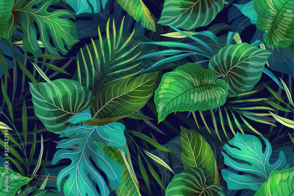 Fototapeta Dark pattern with exotic leaves