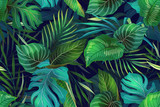 Dark pattern with exotic leaves