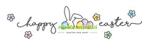 Happy Easter Handwritten Typography Lettering Text Line Design Colorful Bunny Eggs Grass White Greeting Card