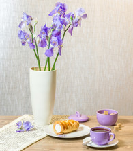 Bouquet Of Irises, Cake, Cup O...