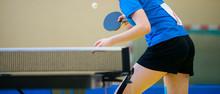 Ping Pong Table, Woman Playing...