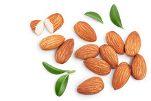 Almonds Nuts With Leaves Isola...