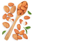 Almonds Nuts With Leaves Isolated On White Background With Clipping Path And Full Depth Of Field. Top View With Copy Space For Your Text. Flat Lay