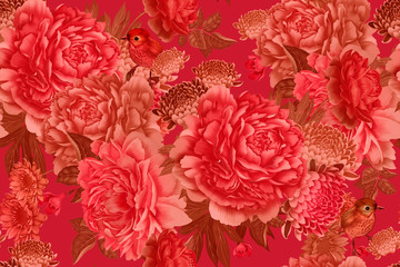 Panel Szklany Romantyczny Garden flowers pink peonies and cute birds. Floral seamless pattern.