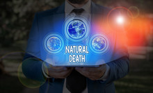 Text Sign Showing Natural Death. Business Photo Text Occurring In The Course Of Nature And From Natural Causes Elements Of This Image Furnished By NASA
