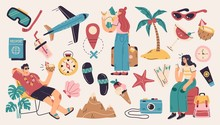 Collection Of Summer Holiday, Tourism, Travel, Beach Vacation, Tropical Party Decorative Design Elements Isolated On White Background. Flat Cartoon Colorful Vector Illustration.