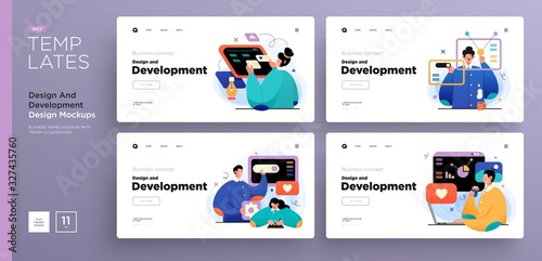 Obraz Website template designs. Web page layouts with modern business concepts illustrations. Creative, development and teamwork concepts - fototapety do salonu