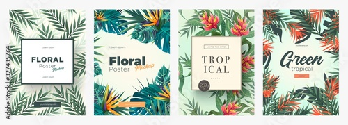 Fototapeta Set of Bright tropical backgrounds with jungle plants. Exotic patterns with tropical leaves obraz