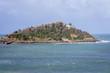 Isle of Santa Clara seen from shore of La Concha Bay in San Sebastian, Basque Country in Spain