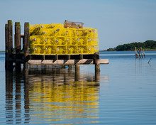 Bright Yellow Crab Traps Stack...