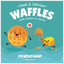 Vintage Poster Design With Vector Waffles, Butter, Honey Character.