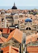 The red tiled and blue domed roofs of the old town are seen from the city wall in Dubrovnik, Croatia.