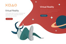 Virtual Reality VR Technology Flat Vector Design Illustration. Man In Virtual Glasses In Space With Planets.