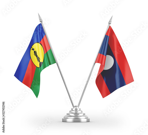Fényképezés Laos and New Caledonia table flags isolated on white 3D rendering