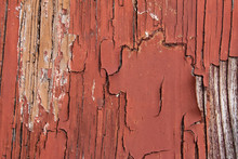 Texture Of Old Wood With Red C...