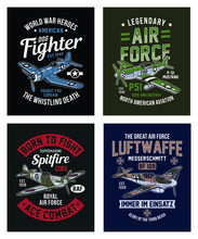 Vintage World War 2 Fighter Aircraft Graphic T-shirt Collection