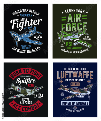 Fotografia, Obraz Vintage World War 2 Fighter Aircraft Graphic T-shirt Collection