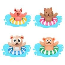 Cute Animal With Swimming Ring Cartoon Vector