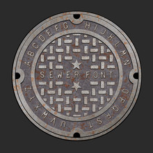 Old Rusty Iron Alphabet Font On Realistic Manhole Cover.  Easy To Edit Vector Design With Layers.  Sewer Cover Template For Use In Your Unique Design.