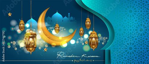 Ramadan kareem greeting card design with arabic lantern and mosque door, arabic calligraphy Canvas Print