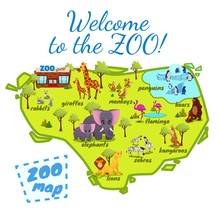 Welcome To The Zoo Map, Nature Infographics Elements With Elephant, Giraffe, Lions, Monkey, Kangaroo, Flamingo, Rabbits, Zebra, Bear, Penguins. Funny Animals In Park Cartoon Flat Vector Illustration